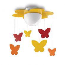 Meria plafon dziecięcy motylki 1x15W E27 230V żółty - wielokolorowy