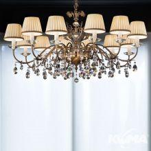 Primadonna lampa wisząca żyrandol 12x40W E14 230V stare złoto + Swarovski