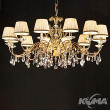 Primadonna lampa wisząca żyrandol 12x40W E14 230V złoty + Swarovski