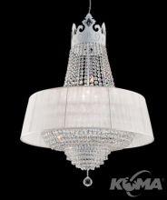 Crown oprawa wiszaca 6x60W E27 d70cm krysztal/bialy