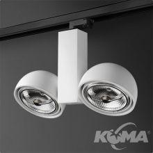 Glob Duo reflektor na szynoprzewód biały (mat) 2x50W AR111 230V