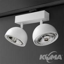 Glob reflektor na szynoprzewód biały (mat) 2x50W AR111 230V