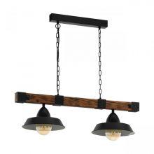 Oldbury lampa wisząca czarna/brązowa 2x60W E27