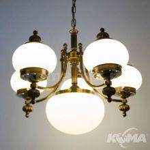 Wiener nostalgie lampa wisząca żyrandol 6x60W E27 230V antyczny mosiądz klosz opal mat