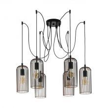 Roccamena lampa wisząca 6x60W E27 230V czarna/orzech