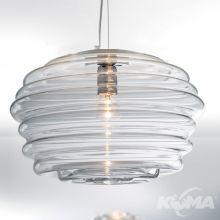 Onda lampa wisząca 75W E27 chrom szkło wykonane ręcznie transparentne