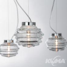 Onda lampa wisząca 33W G9 chrom szkło wykonane ręcznie transparentne