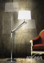 Terra lampa podłogowa stojąca mała 1x60W E27 230V aluminium / chrom / biały abażur