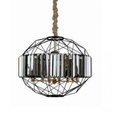 Treglino lampa wisząca czarna/złota/szary kryształ 8x10W led E14