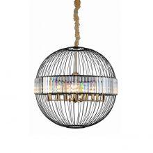 Cossini lampa wisząca czarna/złota/kryształowa 12x10W led E14