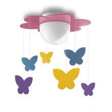 Meria plafon dziecięcy motylki LED 1x15W E27 230V różowy - wielokolorowy