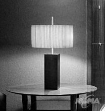 Mani mini lampa stolowa 1x60W drewno wisniowe/wstazka biala
