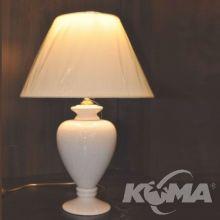 Julka lampa stołowa ceramiczna spękana ecru z abażurem 1x60W E27