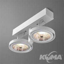 Bares reflektor biały (połysk) 2x100W AR111 230V