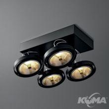 Bares oprawa sufitowa czarny połysk reflektor 4x50W AR111 G53 12V\/230V